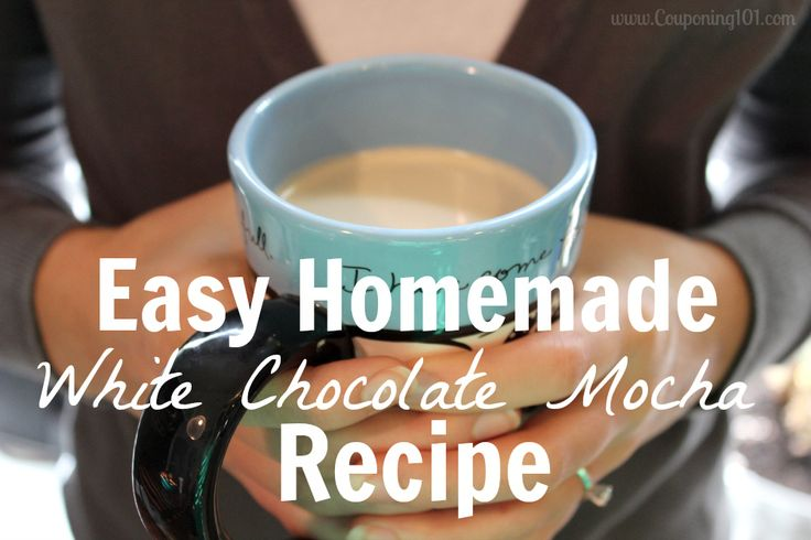 Incredibly easy homemade white chocolate mocha recipe! Only takes 3 ingredients and 5 minutes.