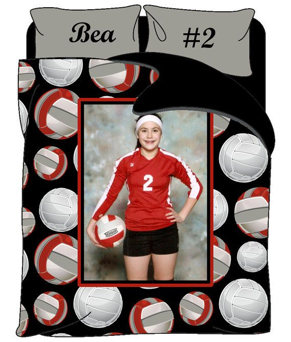 Beautiful Custom Volleyball Photo Theme Bedding   Personalized With Your Photo, Name   Twin, Queen Or King Size   Ball Colors Can Be Changed