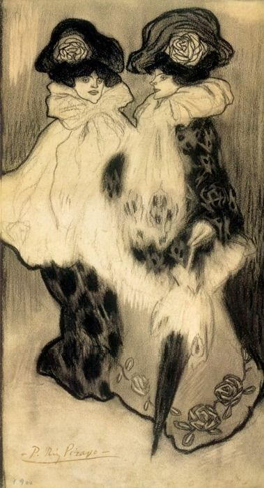 "Deux Femmes charcoal by Pablo Picasso, 1900…….THEY'VE JUST FINISHED THEIR STINT AT THE ""FOLLIES""…………..ccp"