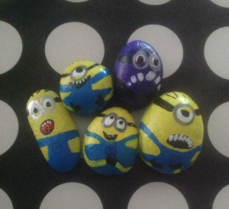 My attempt at doing minions on pebbles for my lovely granddaughters