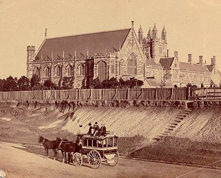 SYDNEY UNIVERSITY FROM PARRAMATTA ROAD pre 1874 The date is given by the presence of the Angel of Knowledge, still visible on the eastern gable of the Great Hall of The University of Sydney, which was removed in 1874. (State Library of NSW)