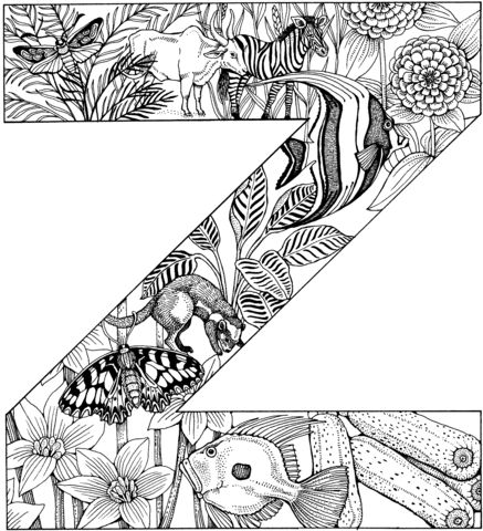 Letter Z With Animals Coloring Page Coloring Pages