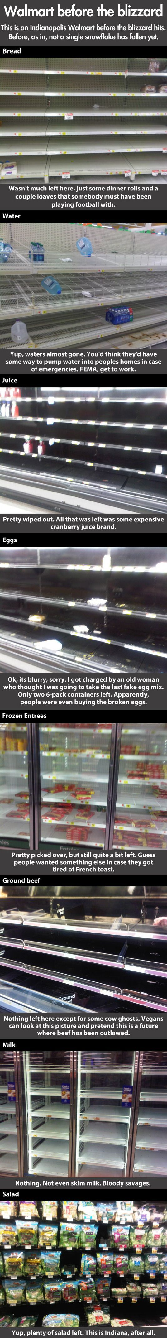 "This is extra funny because it's Indianapolis. I wonder if it's the same day the lady stole the milk (that I WAS NOT buying for the ""blizzard"") right out of my basket."
