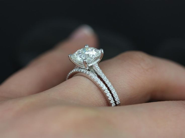 wedding set cushion cut solitaire so simple and elegant