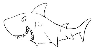 Shark Outline, White Shark Coloring Page | Just Free Image Download