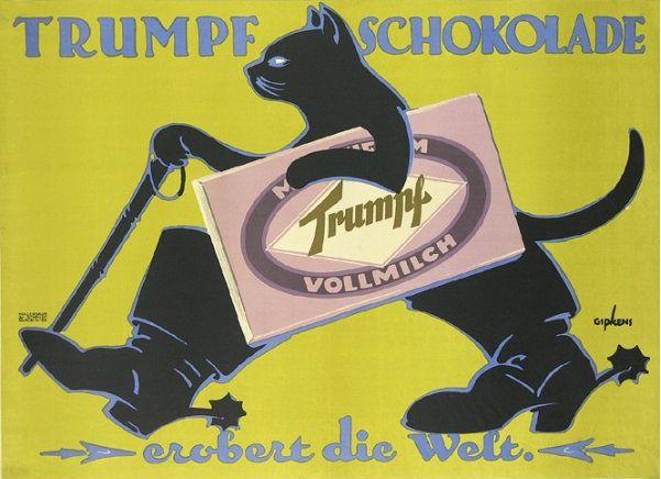 german ads old   Turf Cigarette ad (1910) Artist: Julius Klinger, Trumph Chocolate ad ...