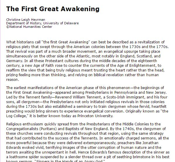 The First Great Awakening Article or Video 3. Visit site for complete article.
