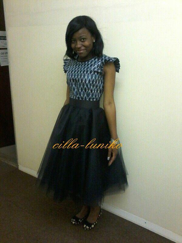 Tulle skirt with african print top  Cillaluniko by Priscilla Nikiwe Novela