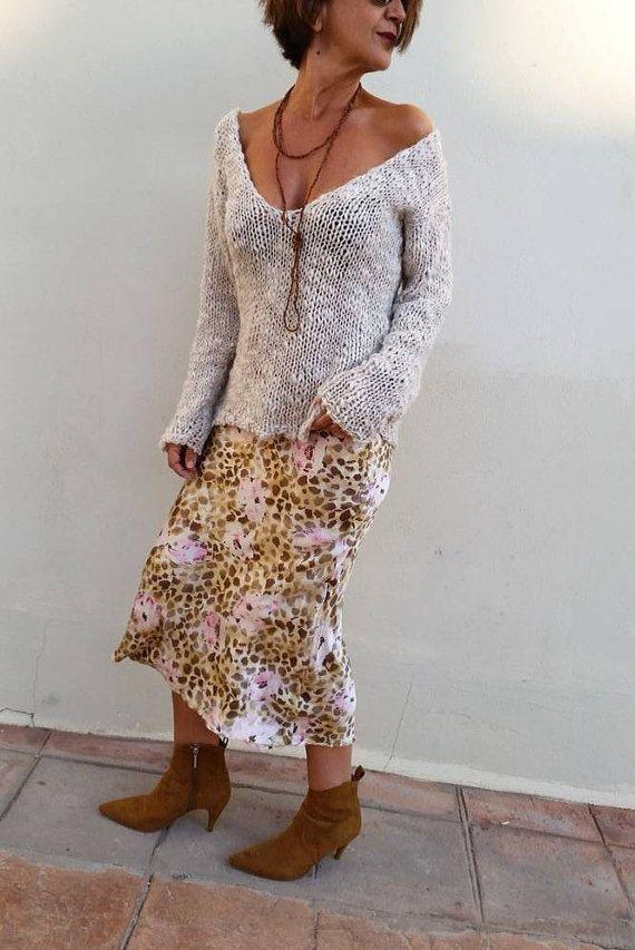 Jersey de lana jersey blanco roto suéter de mujer jersey