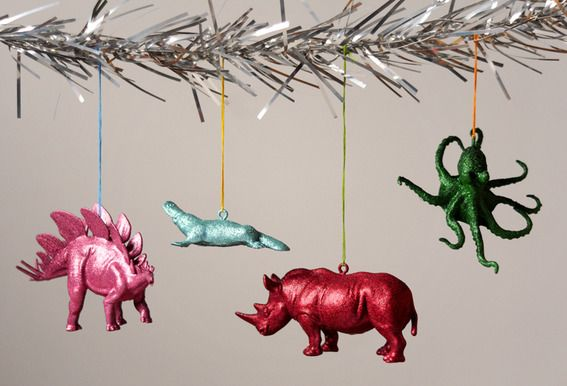 Check out this tutorial for making glittery animal ornaments from Curbly.