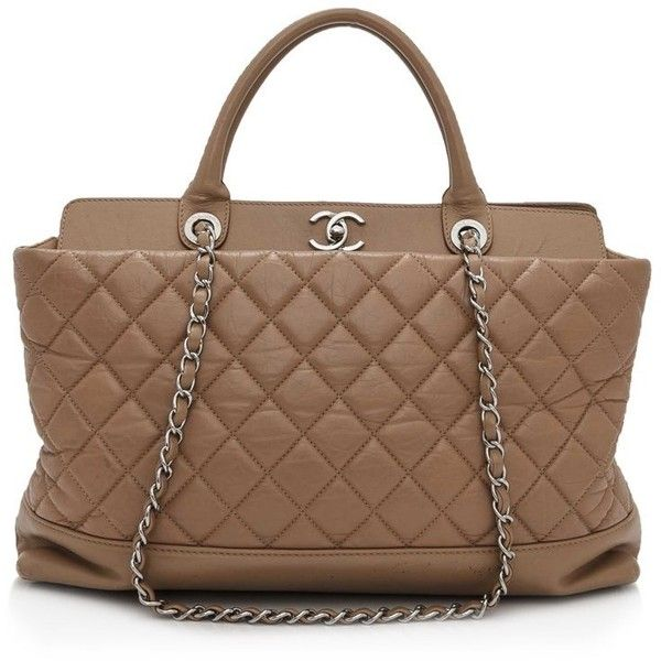 Pre-owned Chanel Leather Tote ($2,200) ❤ liked on Polyvore featuring bags, handbags, tote bags, brown, leather handbag tote, leather tote handbags, tote purses, chanel tote bag and brown leather tote bag