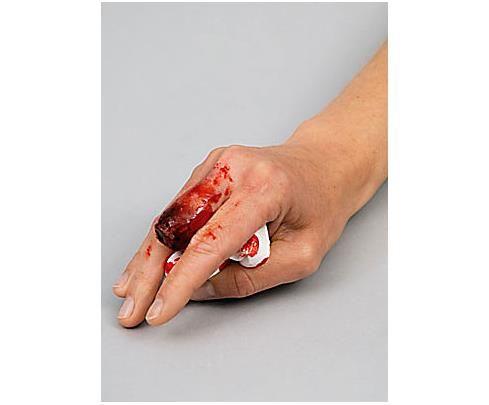 Dito tagliato in pochi secondi :-D Con la spatola applicare la Derma Wax sulla pelle e lavorarla nella forma desiderata ( per lavorare con facilita il prodotto, consigliamo l'uso del Cleansing Cream). Procedere con l'applicazione del sangue finto! SPATOLA: http://www.loacenter.com/trucco-make-up/accessori.html DERMA WAX e SANGUE: http://www.loacenter.com/trucco-make-up/special-effects.html