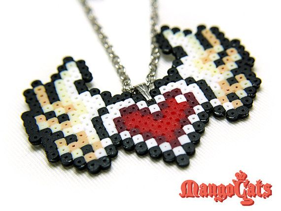 Valentine's day heart with wings bead sprite necklace by MangoCats, $7.50