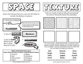 Elements of Art Sketchbook Activities Art worksheets