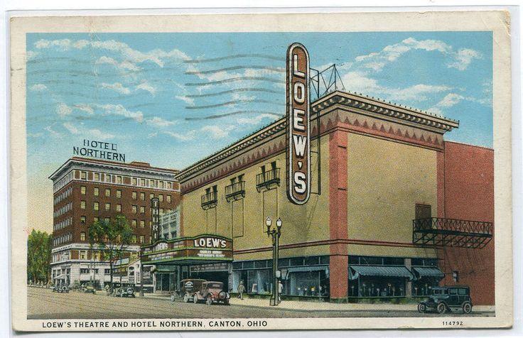 Loews Movie Theater Hotel Northern Street Scene Canton Ohio 1935 postcard
