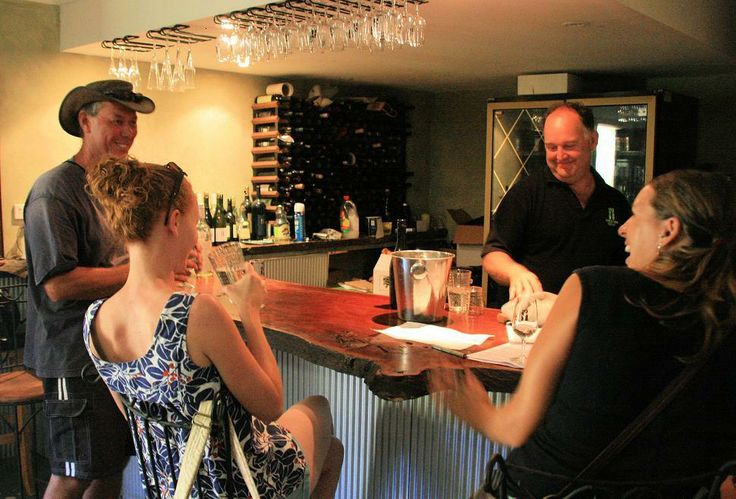 Enjoying a wine tasting in the cellar door