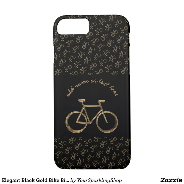 Elegant Black Gold Look Bike Bicycle Pattern #Cycling Phone Case