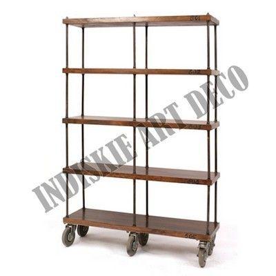 Vintage Wooden Industrial Shelving Industrial Bookcase Industrial Shelves Industrial Bookshelf With Wheels