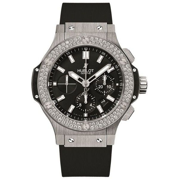 Hublot Big Bang 44mm Steel Diamond Watch (24 405 AUD) ❤ liked on Polyvore featuring jewelry, watches, hublot, diamond wrist watch, diamond jewellery, steel watches and diamond jewelry