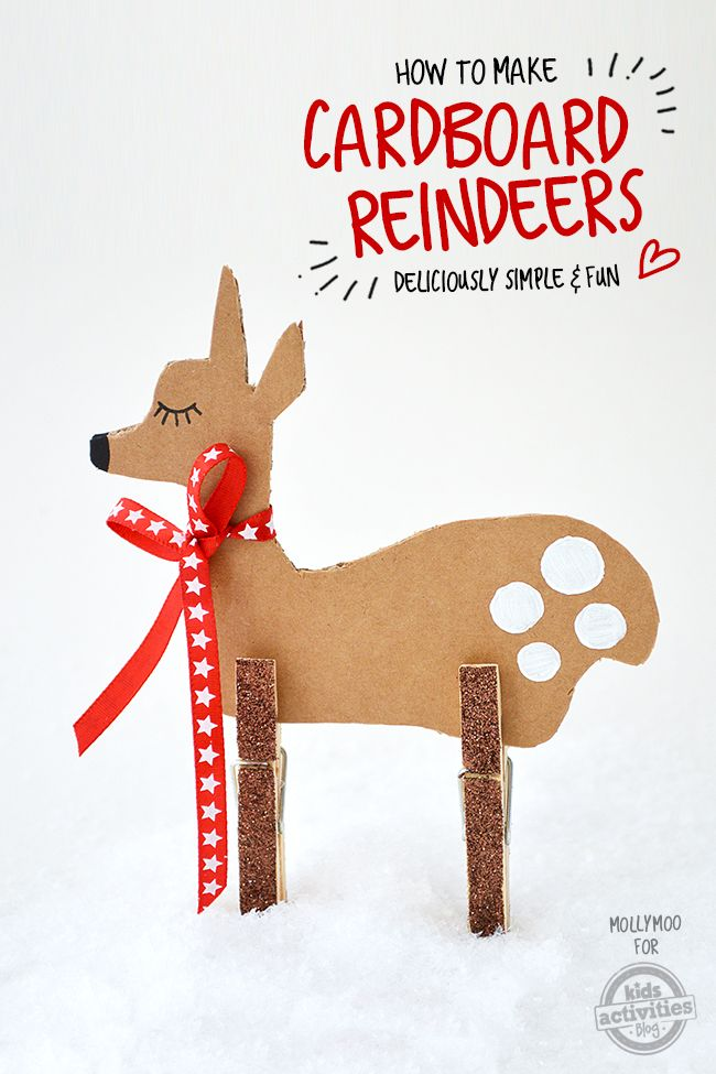 Christmas crafts for kids don't come much cuter than this simple cardboard and clothes peg reindeer. Make all of Santa's reindeer!: