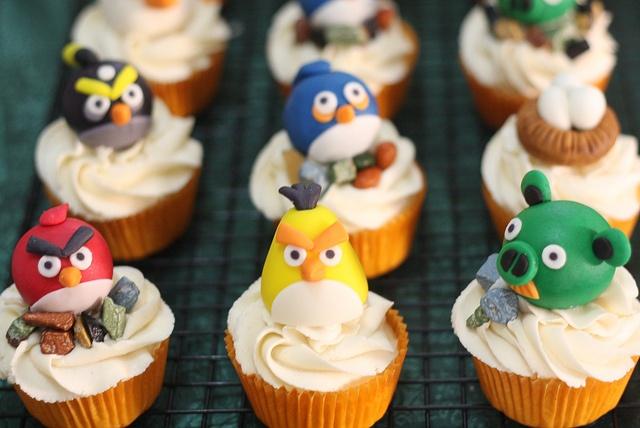 Son ricos cupckaps con diseño de angry birds :)