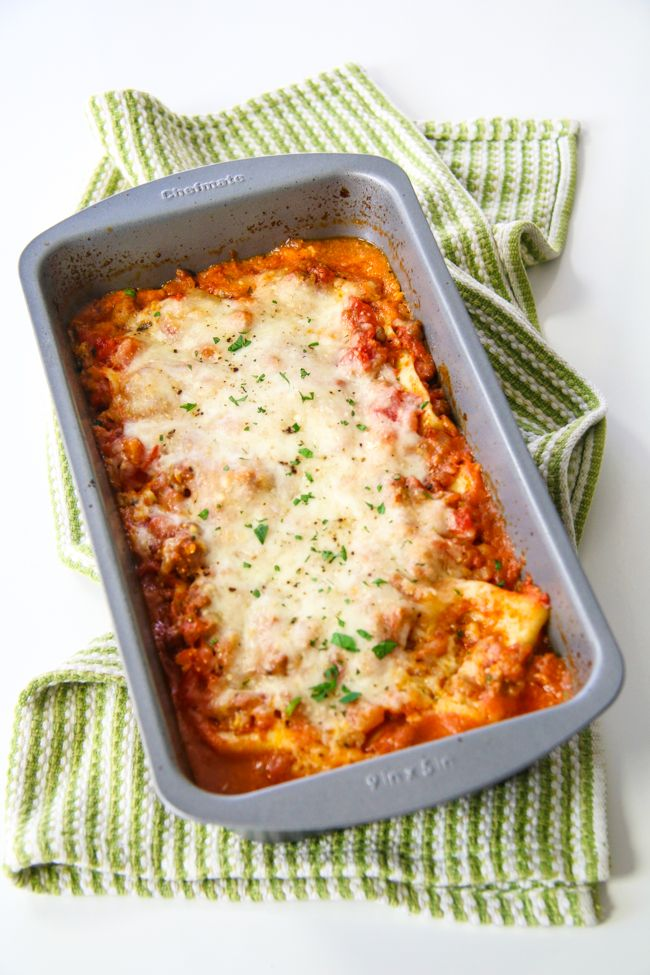 A cute and small lasagna for two!  All you need are oven ready lasagna noodles and a loaf pan.  Video on how to make it.