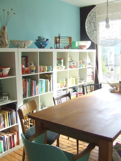 Need more of these ikea book shelves!: Wall Colors, Dining Rooms, Idea, Schools Rooms, Living Rooms, Vans, Crafts Rooms, Ikea Shelves, Eclectic Living Room