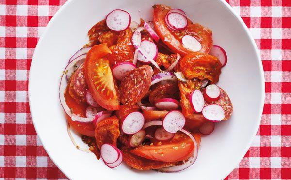 Tomatsalat med bagte tomater - Sæson for god smag