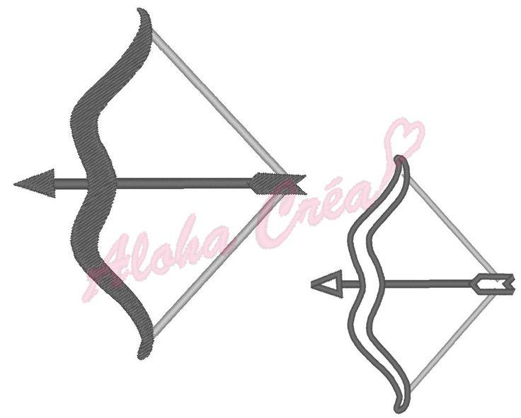Motif broderie machine signe astrologique zodiac sagittaire (arc+fleche) ombre + appliqué (plusieurs tailles) - Téléchargement instantané par AlohaCrea sur Etsy https://www.etsy.com/fr/listing/490283055/motif-broderie-machine-signe