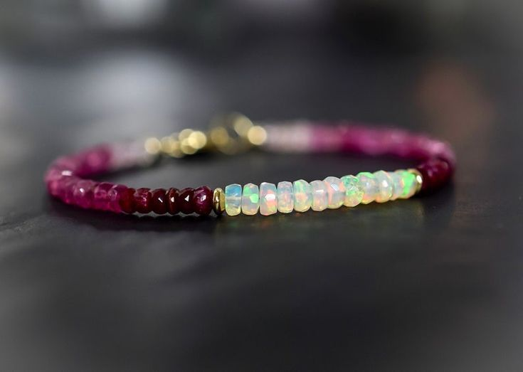 Natural Sapphire,Ruby,Emerald Faceted Gemstone Beads Bracelet Silver Clasp.
