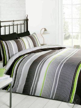Multi Striped Bedding Cotton Rich Quilt Cover Contemporary Duvet Bed Set Grey Black White Lime Green King Si Sophisticated Beach Bedroom In
