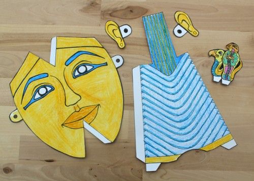 Egyptian Mask Crafts | Here are all your pieces cut and colored to make one Pharaoh's mask: