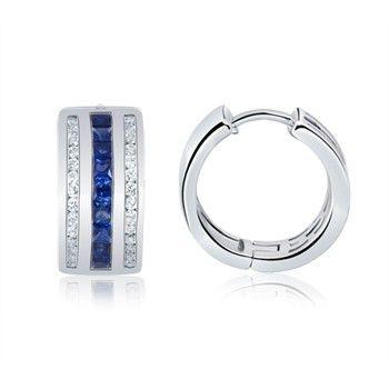 Angara Diamond and Blue Sapphire J-Hoop Earrings in Platinum B9DtbOjL5r