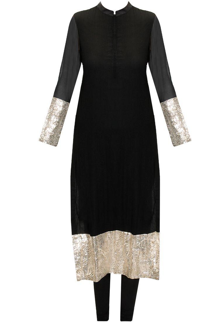 Black gota kurta set with off-white embroidered dupatta by Vasavi Shah. Shop now: www.perniaspopups.... #kurtaset  #elegant #designer #vasavishah #pretty #clothing #shopnow #perniaspopupshop #happyshopping