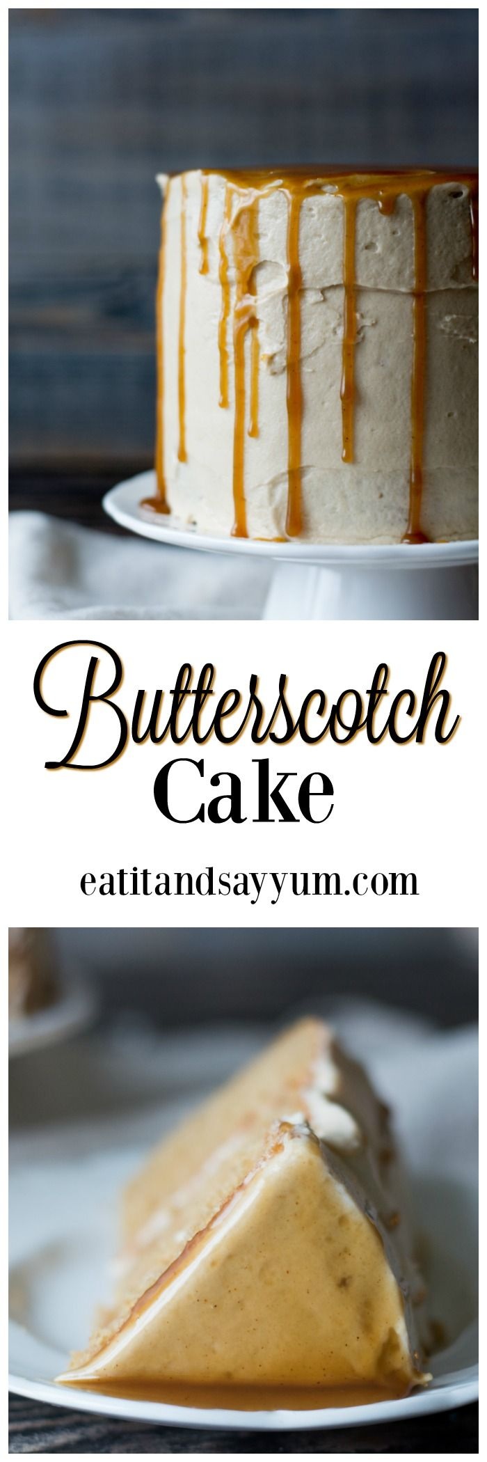 Butterscotch cake with a browned butter frosting and a spiced butterscotch sauce- delicious cake for dessert! Harry Potter Butterbeer style.