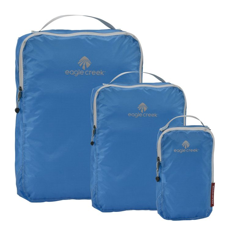 """Eagle Creek Pack It Specter Cube Set , Brilliant Blue, 3pc Set. Packing cubes are Perfect for t-shirts, pants, gym clothes, undergarments, and socks. Ultra lightweight silnylon ripstop allows you to see what's inside. Quick-grab handle. Weather-resistant and anti-staining properties. """"This is one of the best travel products I have purchased! I used it for a fast-paced trip and truly felt more organized (and clean) than I ever had before, as it was very easy to keep track of items."""" - K."""