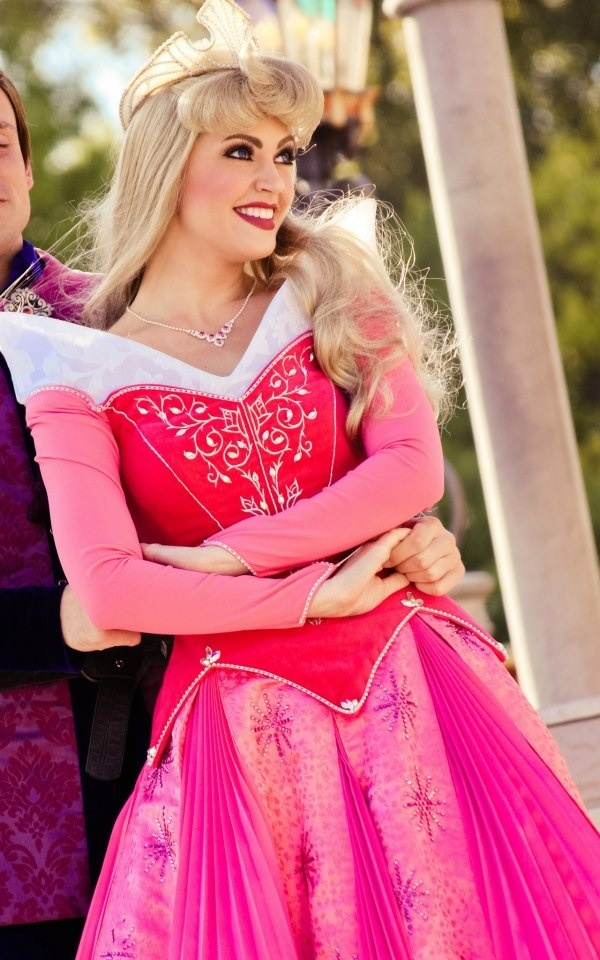 """Sleeping Beauty"" - A decent Princess Aurora for once! I find that she is the most difficult princess to get right at the Disney parks. And her crown is perfect! I hate when they have those extra pointy ones. She could take an eye out with those."