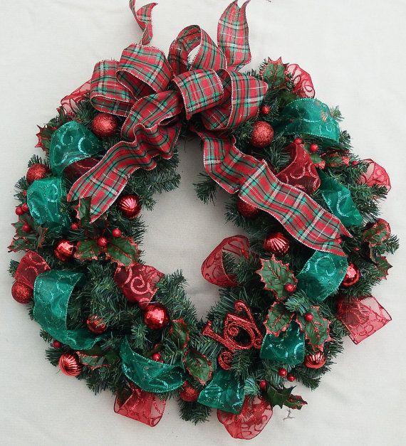 Christmas Joy Wreath Holiday wreath Evergreen by DesignsOnHoliday