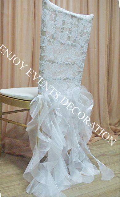 20 pcs YHC #108 elegante rendas chiavari cadeira para trás cobrir com salgueiro curly saias de organza sash para cadeira decoração