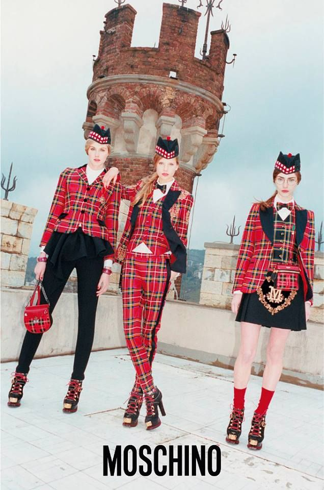 Discover the new Ad Campaign Moschino Fall/Winter 2013 shot at the MacKenzie castle in Genova by Juergen Teller and starring Marine, Elisabeth and Dauphine!