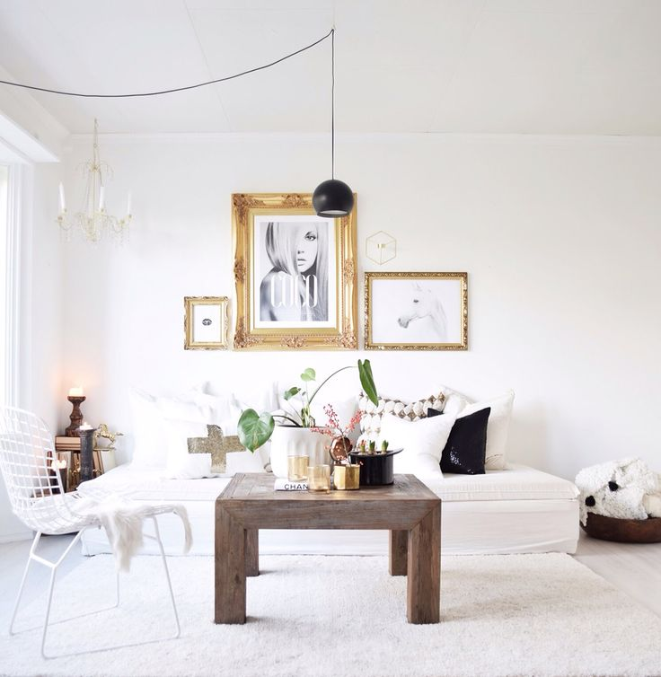 Eclectic glam bohemian simple gold interior livingroom nordic blackwhite prints