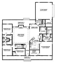 Ranch House Plan First Floor - 028D-0022 | House Plans and More. I really really love this. I would keep the master on the main floor, but I would put the extra bedrooms upstairs. And put the garage where the bedrooms are, but with a side entrance. I LOVE the kitchen/dining/living space, it's exactly what I want in that area. PERFECT!