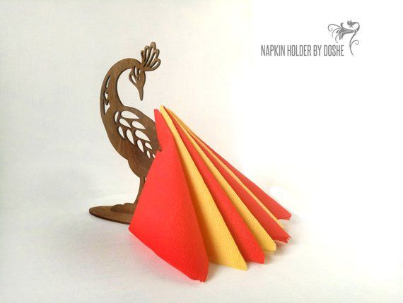 PEACOCK Napkin holder – Laser cut wood Table centerpiece – Thanksgiving holiday decor