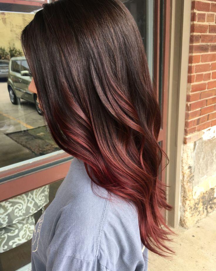 Raspberry brunette auburn balayage fall hair