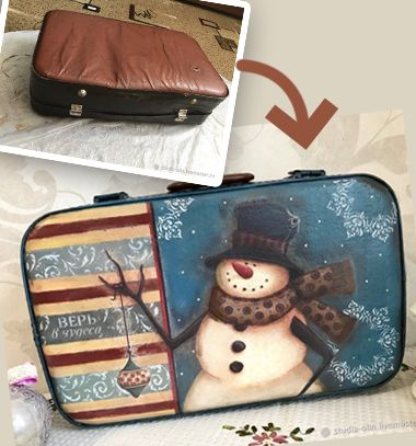 DIY snowman winter decor with decoupage from an old suitcase // Régi bőrönd új ruhában - hóemberes téli dekor szalvétatechnikával // Mindy - craft tutorial collection // #crafts #DIY #craftTutorial #tutorial