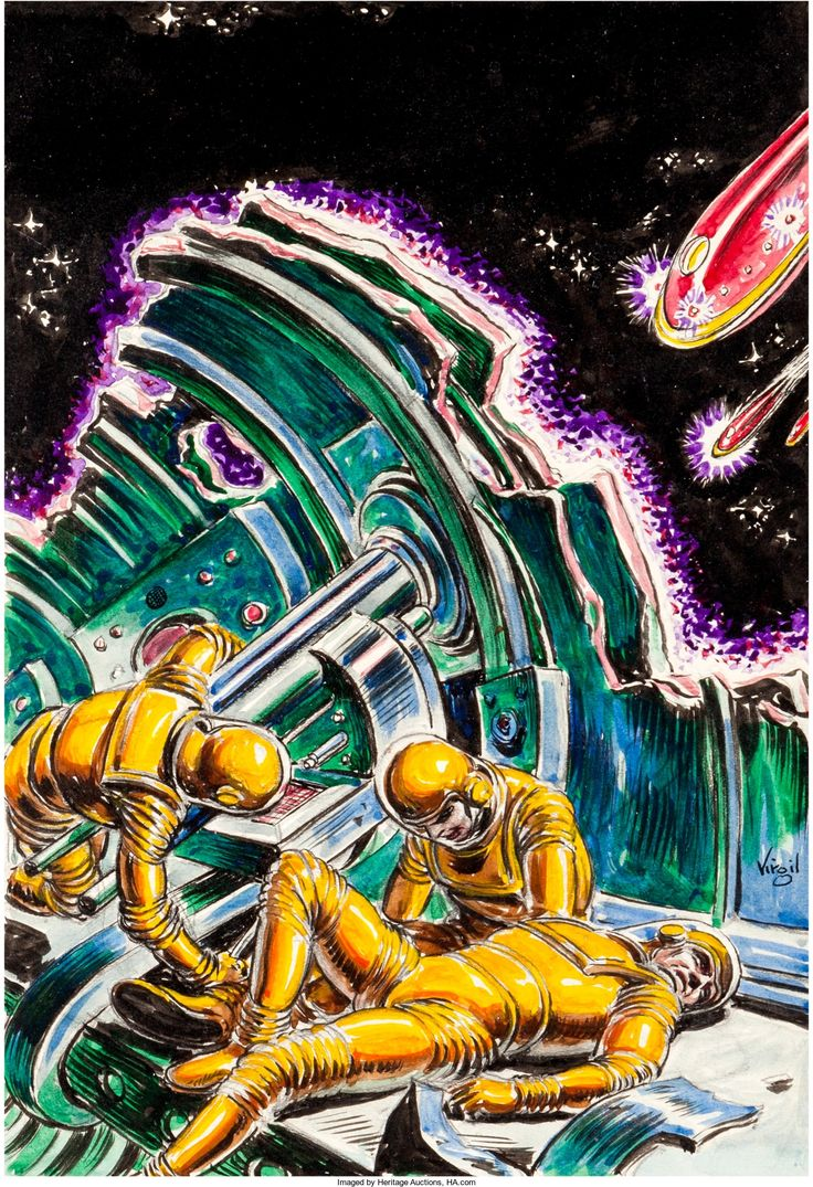 Virgil Finlay  Science Fiction Book Club Newsletter  Space War,  Preliminary Illustration