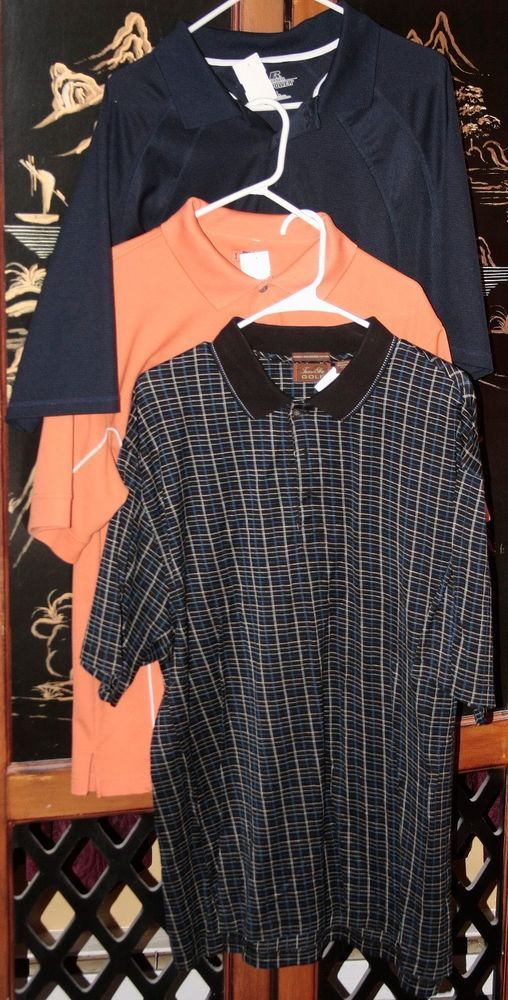 3 Pre-owned men's polo golf shirts by Russel, PGA Tour, & Tasso Ella-Size: Large #TassoEllaRussellPGATour #ShirtsTops