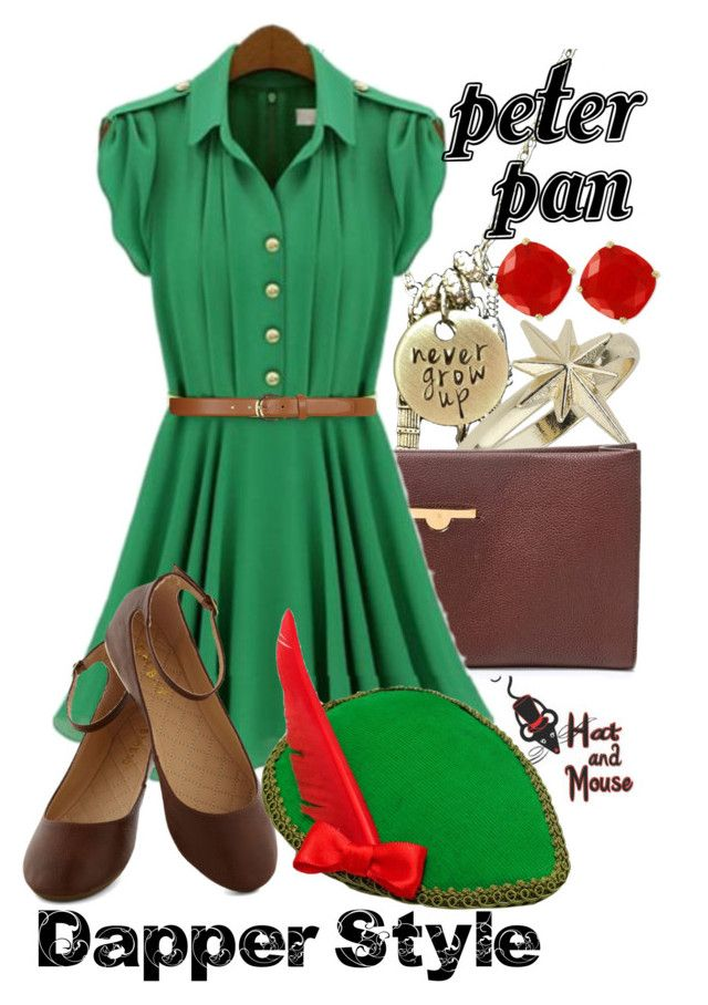 Peter Pan Dapper Style by hatandmouse on Polyvore featuring The Row, Topshop, Kate Spade, Dorothy Perkins, vintage, GREEN and disney