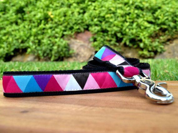 Geometric dog leash / Triangles dog lead / by DelaheyandCo on Etsy