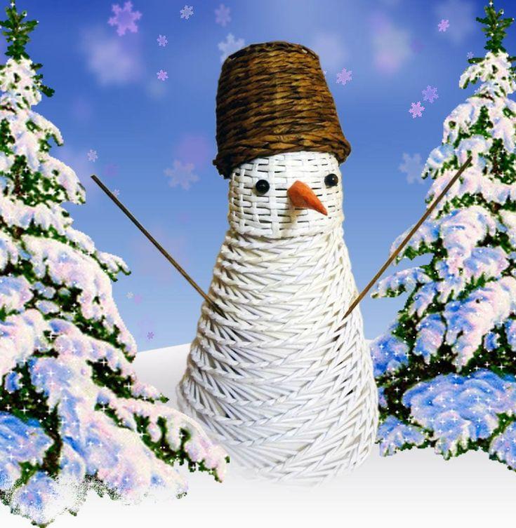 Плетёный снеговик из бумаги / Wicker snowman paper